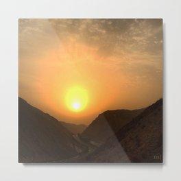 Sunset between Mountains Metal Print