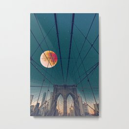 Blood Moon over the Brooklyn Bridge and New York City Metal Print