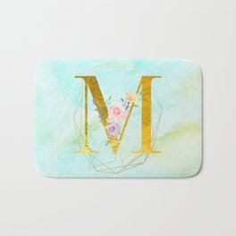 Gold Foil Alphabet Letter M Initials Monogram Frame with a Gold Geometric Wreath Bath Mat