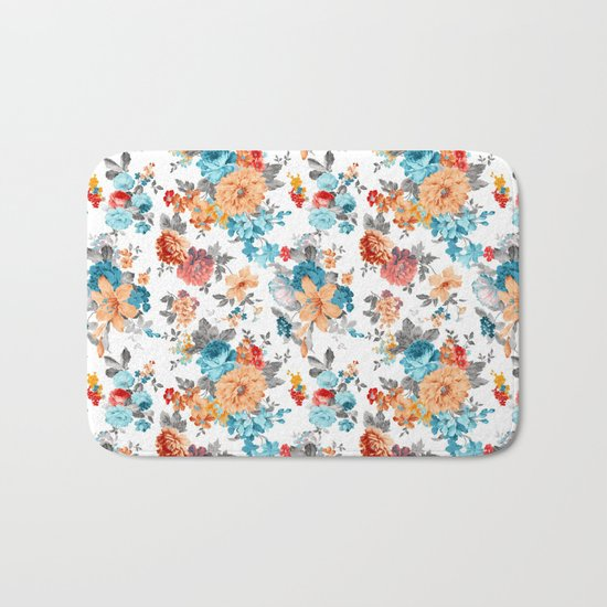 Seamless Floral Pattern Bath Mat