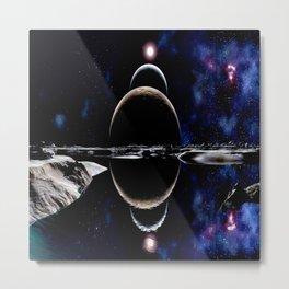 planet sky lake landscape sun Metal Print