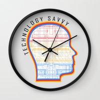 technology Wall Clocks featuring Technology Savvy by Adil Siddiqui
