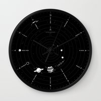 solar system Wall Clocks featuring Solar System by Anton Repponen