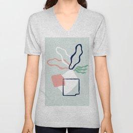 Mix of squares and leaves artwork. Unisex V-Neck