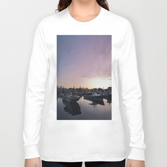 Rockport Harbor at twilight Long Sleeve T-shirt
