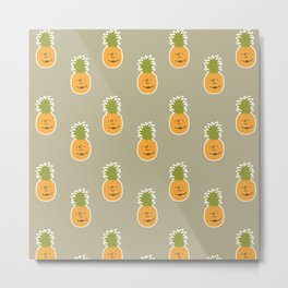 Pineapple love pattern - beige Metal Print