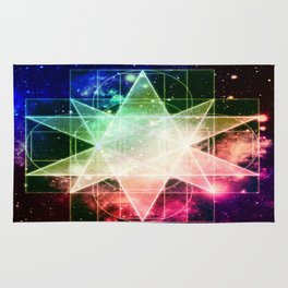 Rainbow Galaxy Sacred Geometry : Stellated Icoshadron Rug