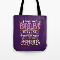 boobs Tote Bags featuring I have small boobs by Sviali