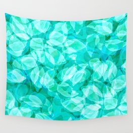 Aqua Blue Turquoise Water Pool Flower Pattern, Delicate Floral Blossom Reflection Design Wall Tapestry