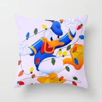 donald duck Throw Pillows featuring Donald Duck Holidays by Brian David
