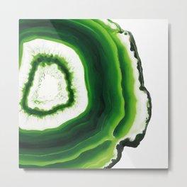Green kiwi Agate slice Metal Print