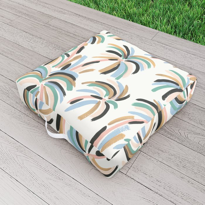 Rainbow Palm Outdoor Floor Cushion