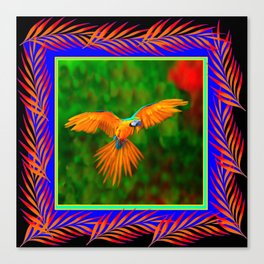 Decorative Flying Golden Blue Macaw Parrot  Black Green  Art Canvas Print