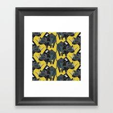 rhinoceros yellow Framed Art Print