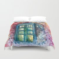 tardis Duvet Covers featuring Doctor Who Tardis by Jessi Adrignola