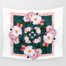 Bordered pink and white blossoms Wall Tapestry