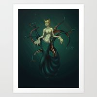 ursula Art Prints featuring Ursula by Baska Batbold