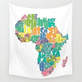 African Continent Cloud Map In Pastels Wall Tapestry