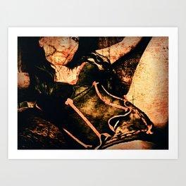 Woman in Black Lingerie Art Print