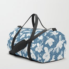 Japanese Magnolia Blue and White Duffle Bag