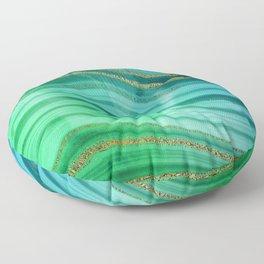 Ocean Blue And Green Mermaid Glamour Marble Floor Pillow