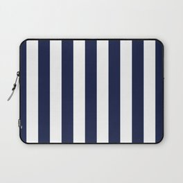 Maritime pattern- darkblue stripes on clear white - vertical Laptop Sleeve