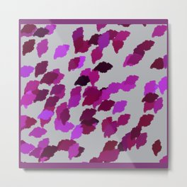 Pink Camouflage Leaves with Border Metal Print