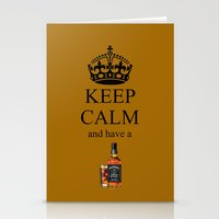 jack daniels Stationery Cards featuring KEEP CALM JACK DANIELS by Best Light Images