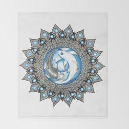 Yin and Yang Butterfly Koi Fish Mandala Throw Blanket