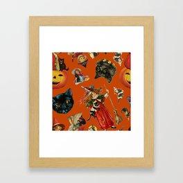 Vintage Black Cat Halloween Toss in Pumpkin Spice Framed Art Print