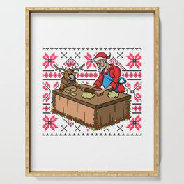 Foodie Gifts Food Coma Ugly Christmas Pun Santa Claus Serving Tray