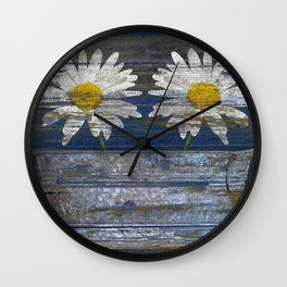 White Daisy Flowers Washtub Blue Country Cottage Chic Art A306 Wall Clock