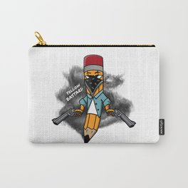 Gangsta pencil with guns illustration. Yellow pen with bandana mask on face, criminal t-shirt print. Carry-All Pouch