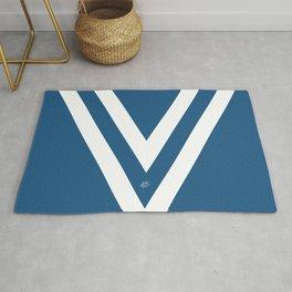 Blue V Abstract Retro Design Rug