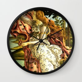 "Sandro Botticelli ""The Birth of Venus"" detail - The Hora holding out a cloak for Venus Wall Clock"