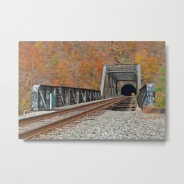 Autumn Graffiti Train Track Metal Print