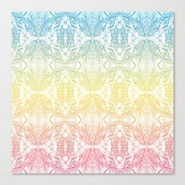 Color Gradient Floral Doodle Pattern Canvas Print