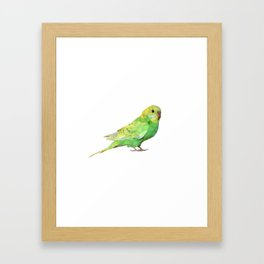 Geometric green parakeet Framed Art Print