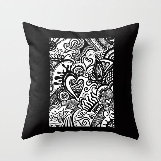 Hearty Arty Doodle Throw Pillow