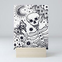 BONES IN THE GARDEN Skeleton And Moon Moth Mini Art Print
