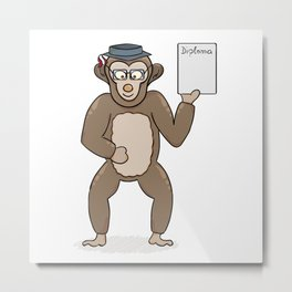 clever monkey with diploma Metal Print