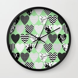 Hearts On Pastel Green - Abstract, black and white, geometric Wall Clock