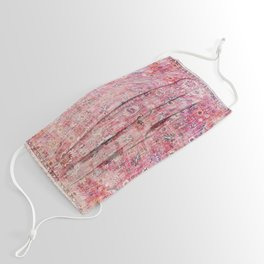 N45 - Pink Vintage Traditional Moroccan Boho & Farmhouse Style Artwork. Face Mask