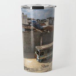 Abandoned bus in an empty backyard in Cienfuegos, Cuba. Travel Mug