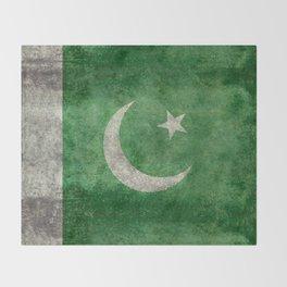 Flag of Pakistan in vintage style Throw Blanket