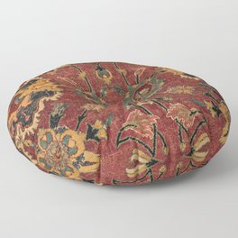 Flowery Boho Rug III // 17th Century Distressed Colorful Red Navy Blue Burlap Tan Ornate Accent Patt Floor Pillow