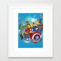 superheroes Framed Art Prints featuring Superheroes by Adrien ADN Noterdaem