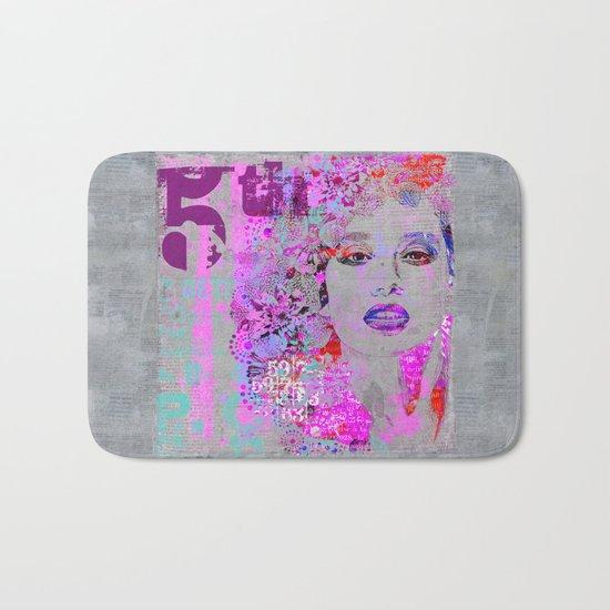 Flower Girl mixed media art grey pink Bath Mat