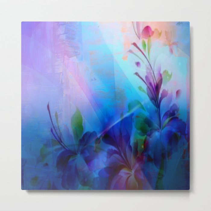 Sunset Painterly Floral Metal Print