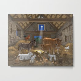 Baby Jesus Divine Manger Holy Night Christmas Nativity Scene Barnyard Farm Animals Metal Print